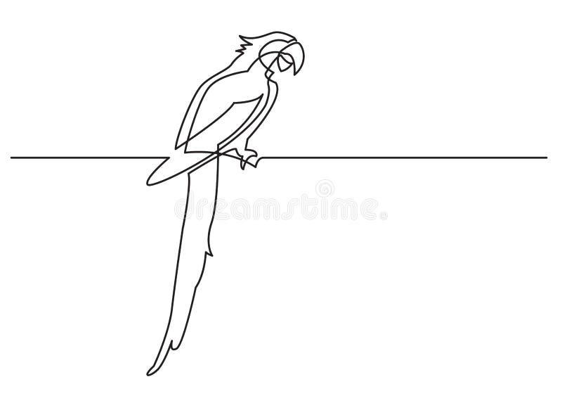 Ciągły kreskowy rysunek odosobniony wektorowy przedmiot - papuga ilustracja wektor