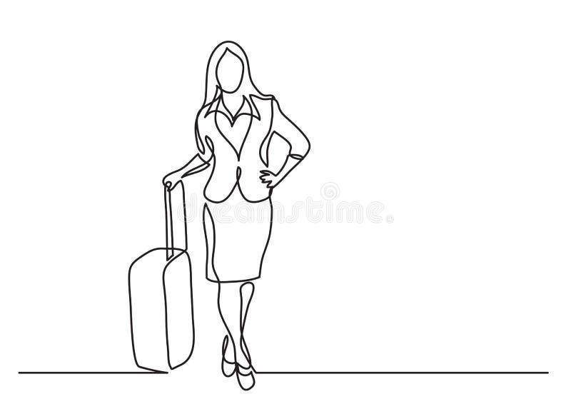 Ciągły kreskowy rysunek osoby w podróży służbowej pozycja z torbą na kołach royalty ilustracja