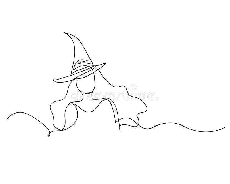 Ciągły kreskowy rysunek piękna kobiety czarownica Halloween liniowy styl i ręki rysować Wektorowe ilustracje, charakteru projekt  royalty ilustracja