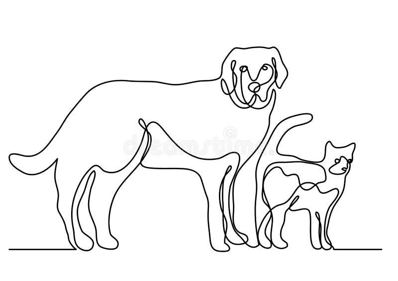 Ciągły kreskowy rysunek pies i kot ilustracja wektor