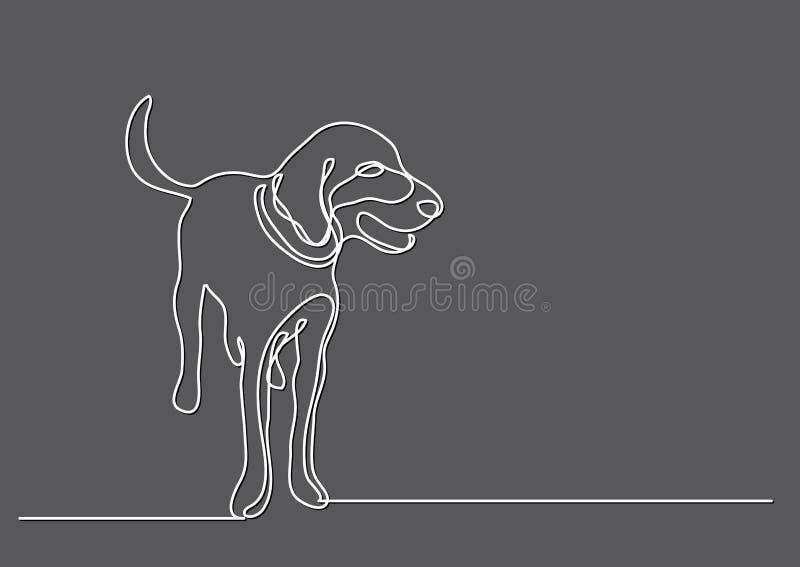 Ciągły kreskowy rysunek psia pozycja royalty ilustracja