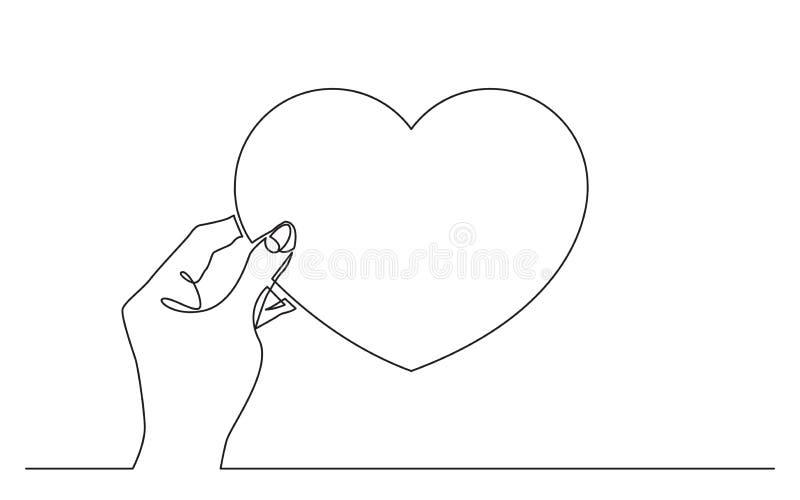 Ciągły kreskowy rysunek ręki mienia serca symbol royalty ilustracja