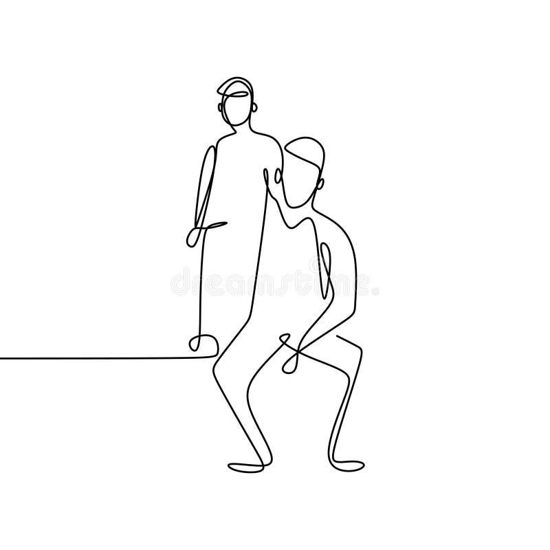 ciągły kreskowy rysunek rodzina ilustracja wektor