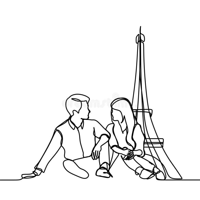 ciągły kreskowy rysunek romantyczna pary wewnątrz - Wektorowa ilustracja royalty ilustracja