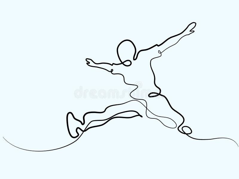 Ciągły kreskowy rysunek szczęśliwy człowiek jumping ilustracji