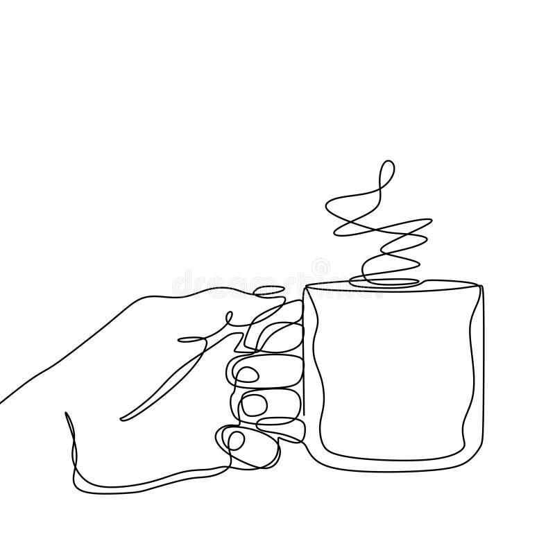 Ciągły kreskowy rysunek trzyma filiżankę gorący kawowy napój ręka ilustracja wektor