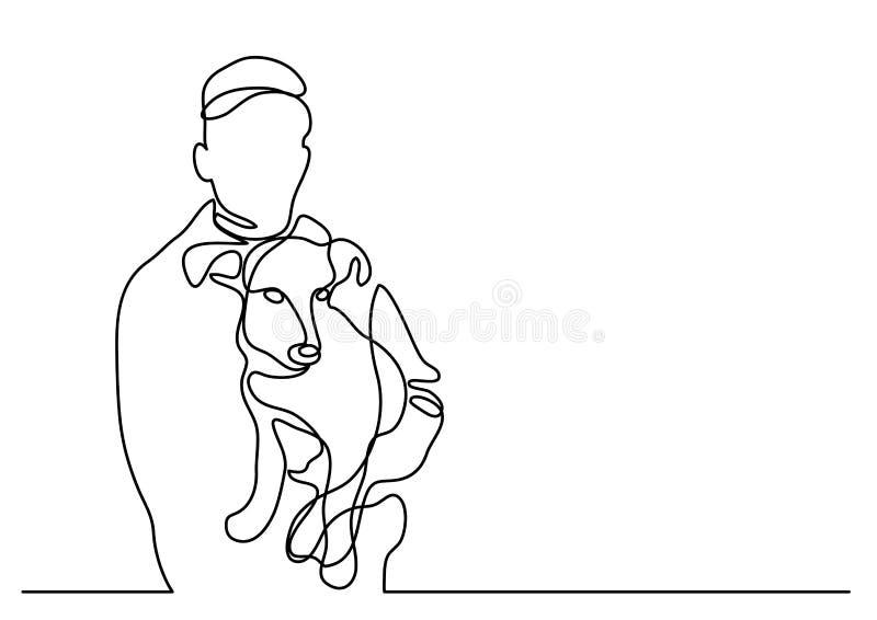 Ciągły kreskowy rysunek trzyma jego psi właściciel ilustracji