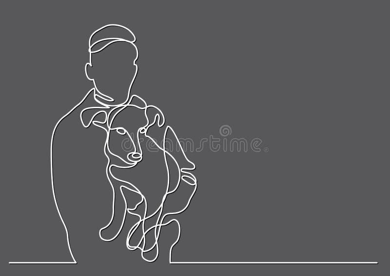 Ciągły kreskowy rysunek trzyma jego psi właściciel royalty ilustracja