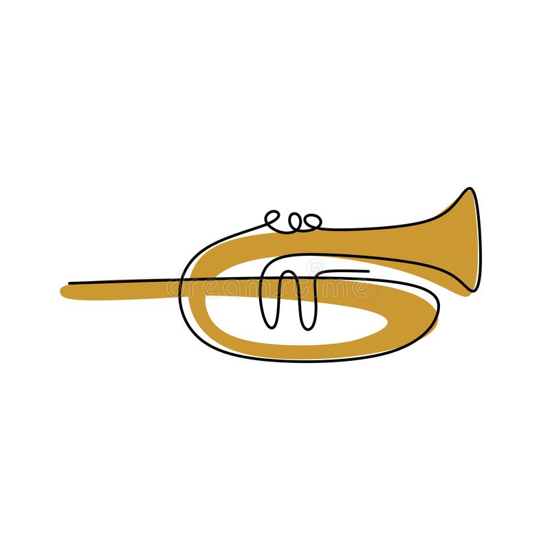 ciągły kreskowy rysunek tubowy instrument muzyczny ilustracji