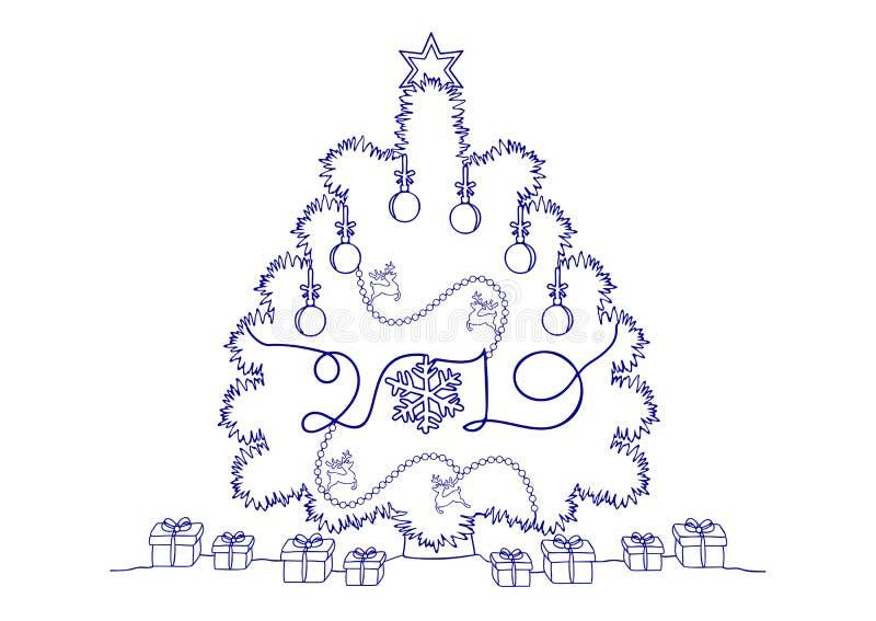 Ciągły kreskowy rysunek wakacje, choinka, zabawki, płatek śniegu, rogacze, prezenty i rogacz Szczęśliwi nowego roku, royalty ilustracja