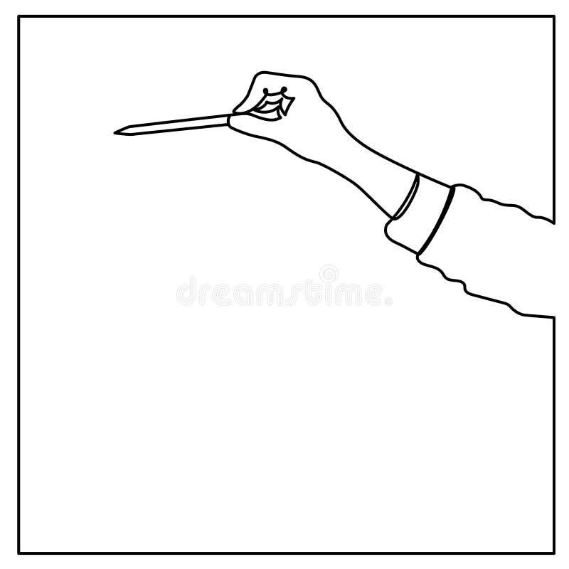 Ciągły kreskowy rysunek wskazuje z piórem w ręce ręka, wektorowa ilustracja royalty ilustracja
