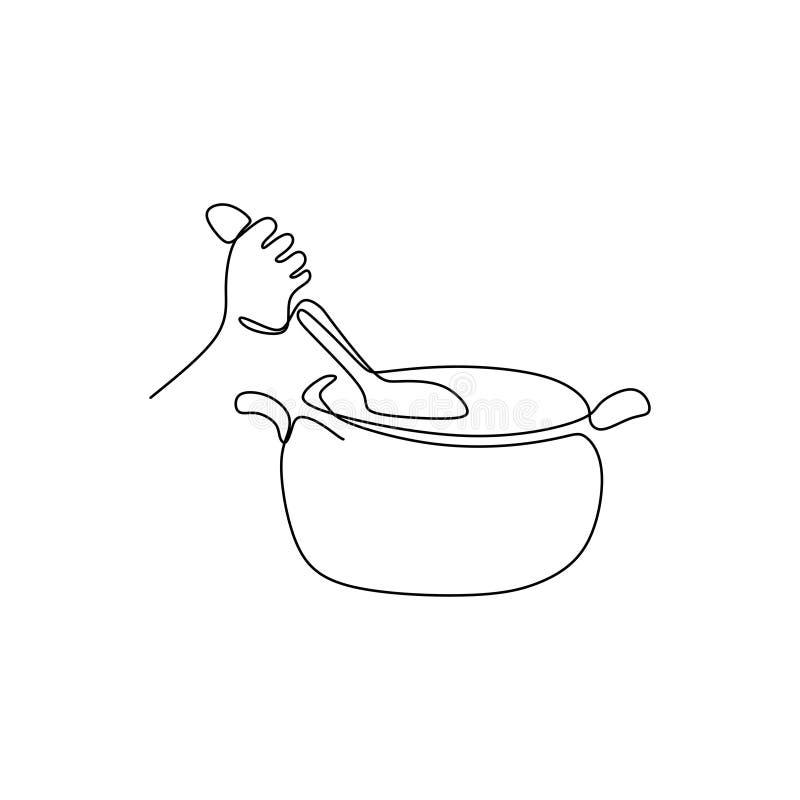 Ciągły kreskowych rysunków przedstawienie ręka jest kulinarnymi wektorowymi ilustracjami ilustracji