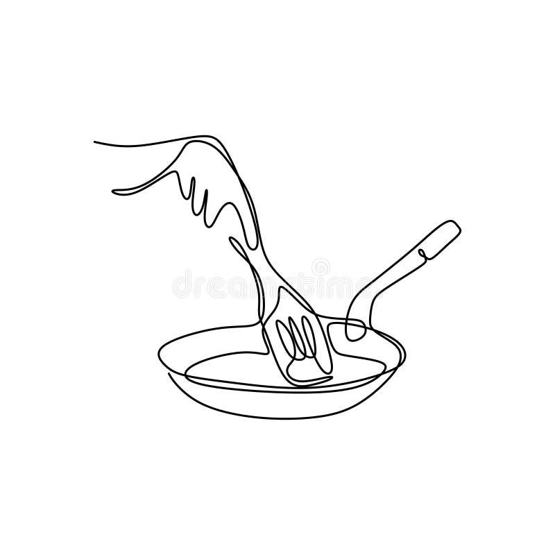 Ciągły kreskowych rysunków przedstawienie ręka jest kulinarnymi wektorowymi ilustracjami ilustracja wektor