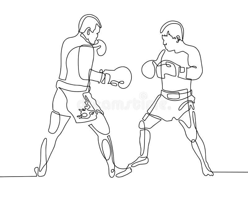 Ciągli jeden kreskowego rysunku dwa boksery w pierścionku ilustracja wektor