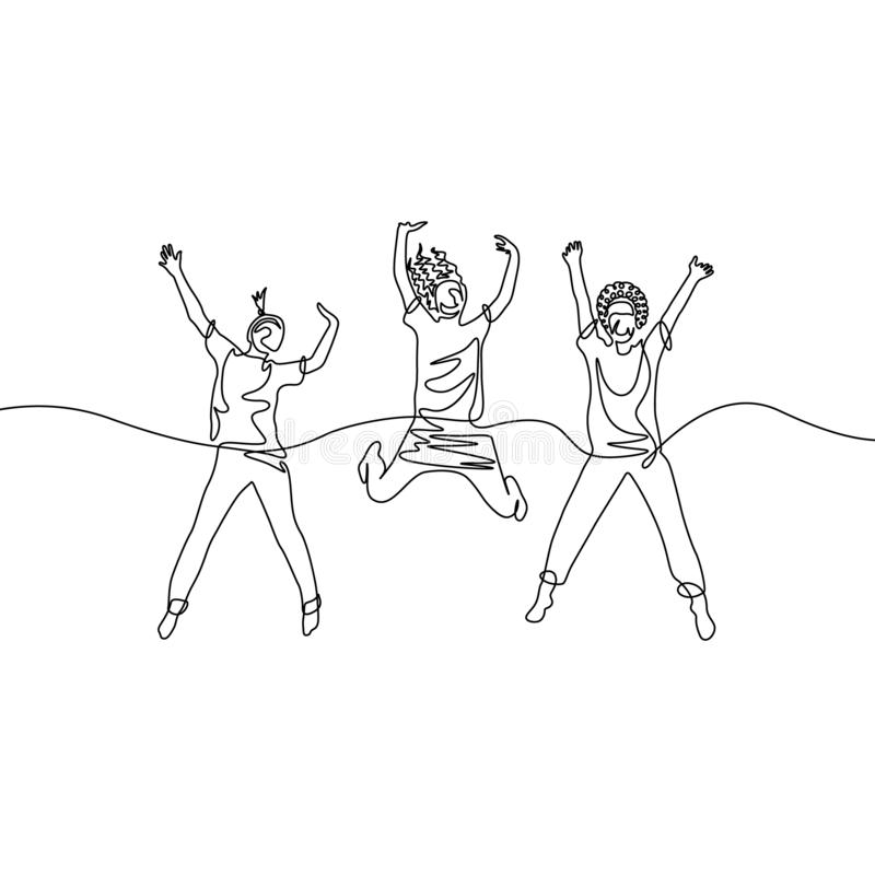 Ciągli trzy jeden kreskowego rysunku skokowe dziewczyny ilustracji