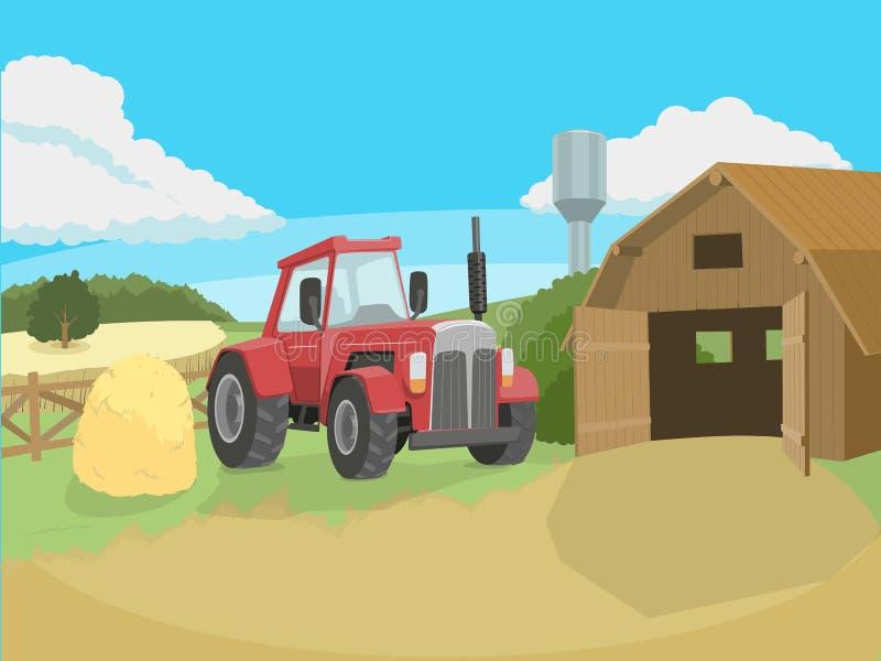 Ciągnik na rolnej wektorowej ilustraci royalty ilustracja