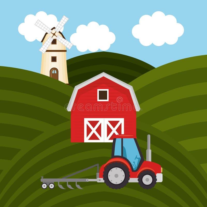 Ciągnik w rolnej scenie ilustracji