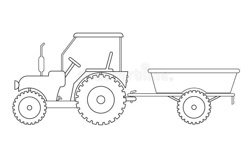 Ciągnik z przyczepa rysunkiem royalty ilustracja