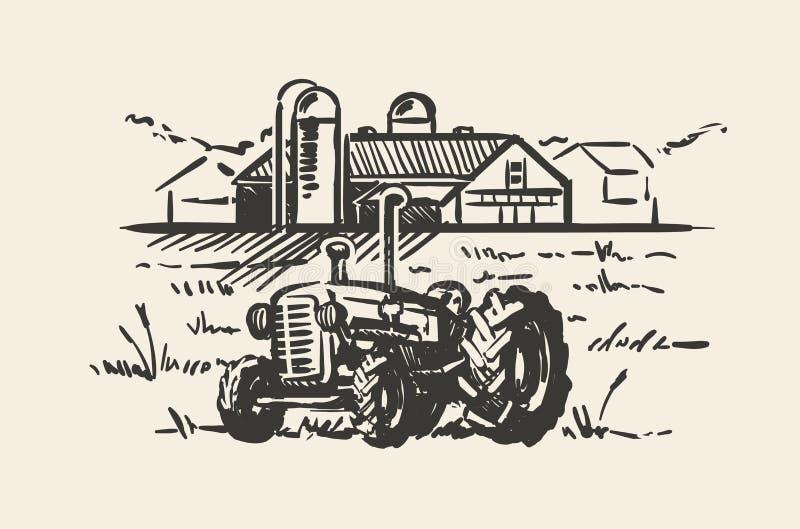 Ciągnik z wiejską sceny nakreślenia wektoru ilustracją Wieśniaka gospodarstwa rolnego krajobrazu ręka rysująca ilustracji