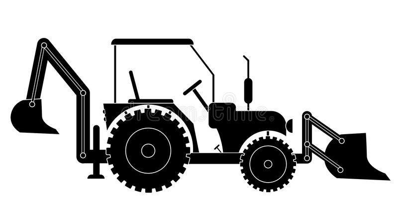 Ciągnikowa równiarka buldożeru sylwetka ilustracja wektor