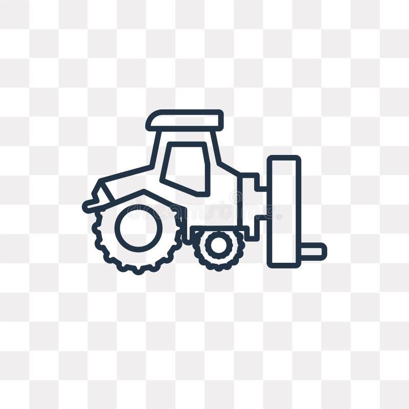 Ciągnikowa wektorowa ikona odizolowywająca na przejrzystym tle, liniowy T ilustracja wektor