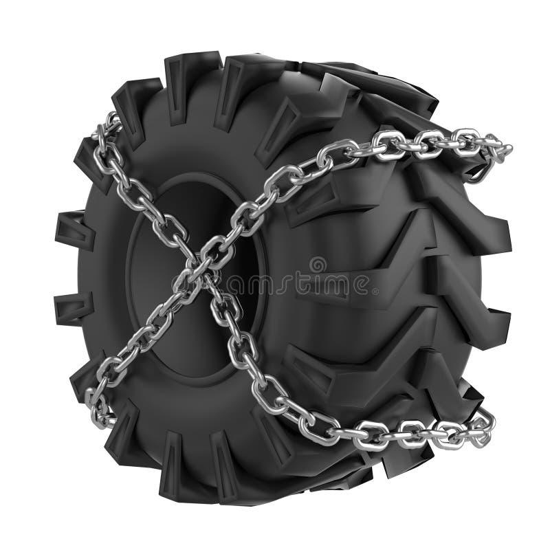 Ciągnikowi opona łańcuchy zawijający ilustracji