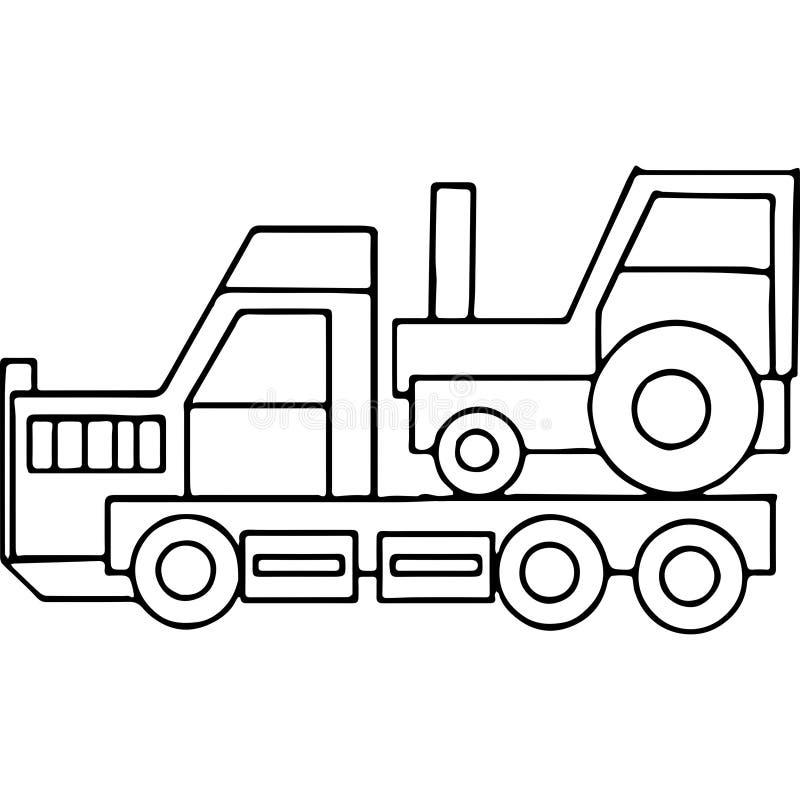 Ciężarówka żartuje geometrical postacie barwi stronę ilustracja wektor