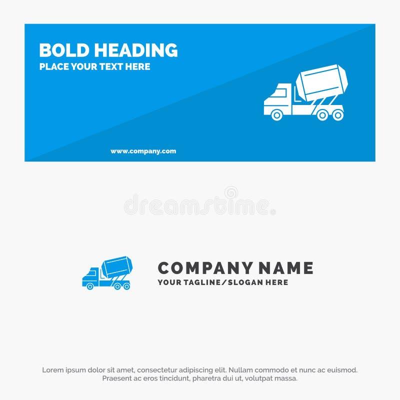 Ciężarówka, cement, budowa, pojazd, Rolkowy stały ikony strony internetowej sztandar i biznesu logo szablon, royalty ilustracja