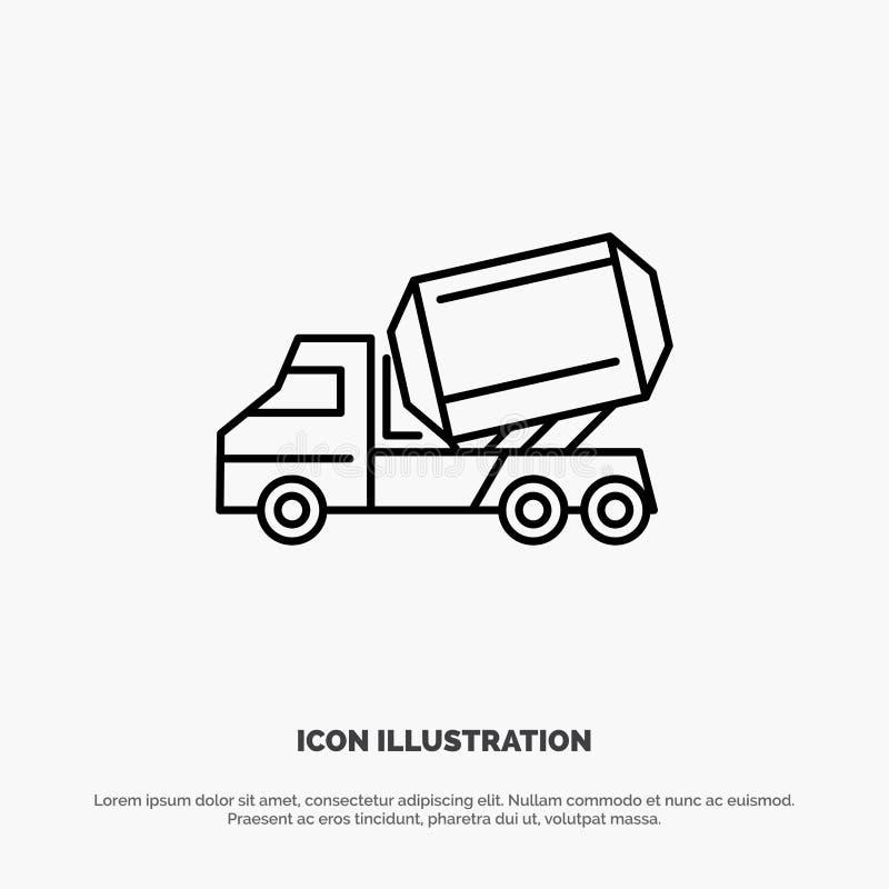 Ciężarówka, cement, budowa, pojazd, rolownik ikony Kreskowy wektor ilustracji