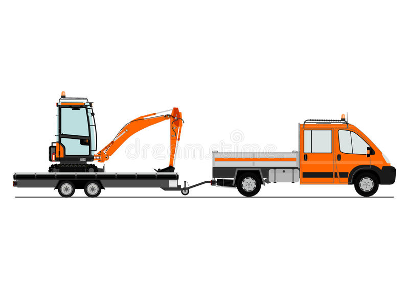 Ciężarówka i ekskawator ilustracji