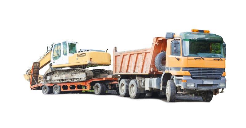 Ciężarówka i ekskawator, przemysłowa maszyna dla budowy fotografia stock
