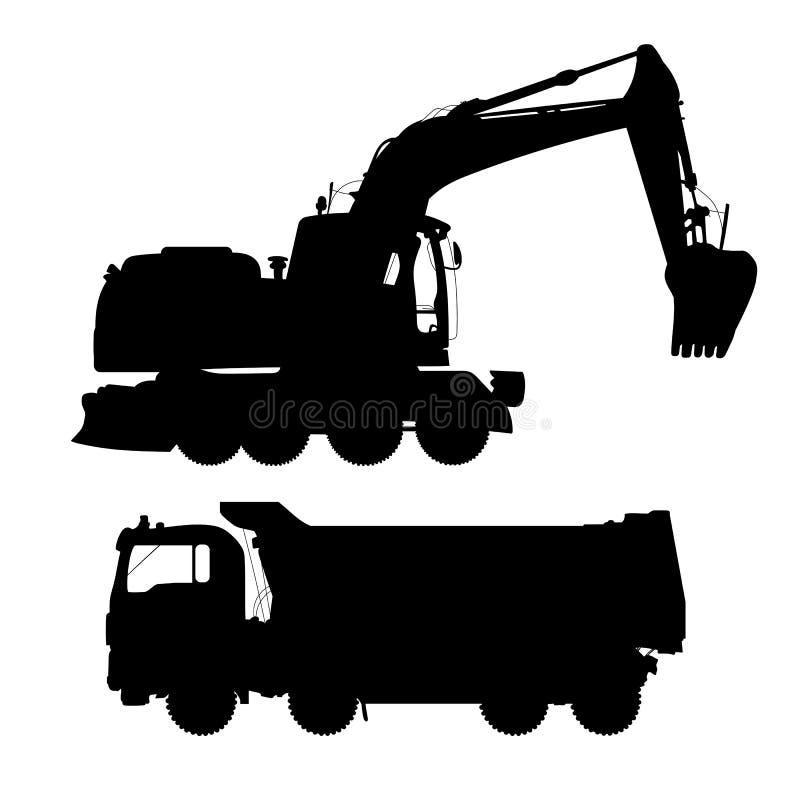 Ciężarówka i ekskawator Szczegółowe sylwetki budów maszyny na białym tle ilustracji