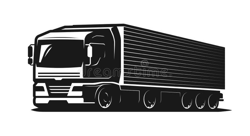 Ciężarówka, ciężarówka lub dostawa logo, Przewozić samochodem przemysłu, ładunku transportu pojęcie również zwrócić corel ilustra royalty ilustracja
