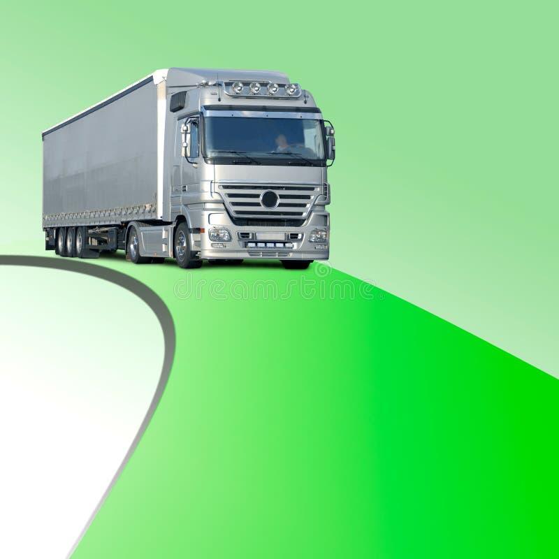Ciężarówka na zielonym pasie ruchu zdjęcie stock