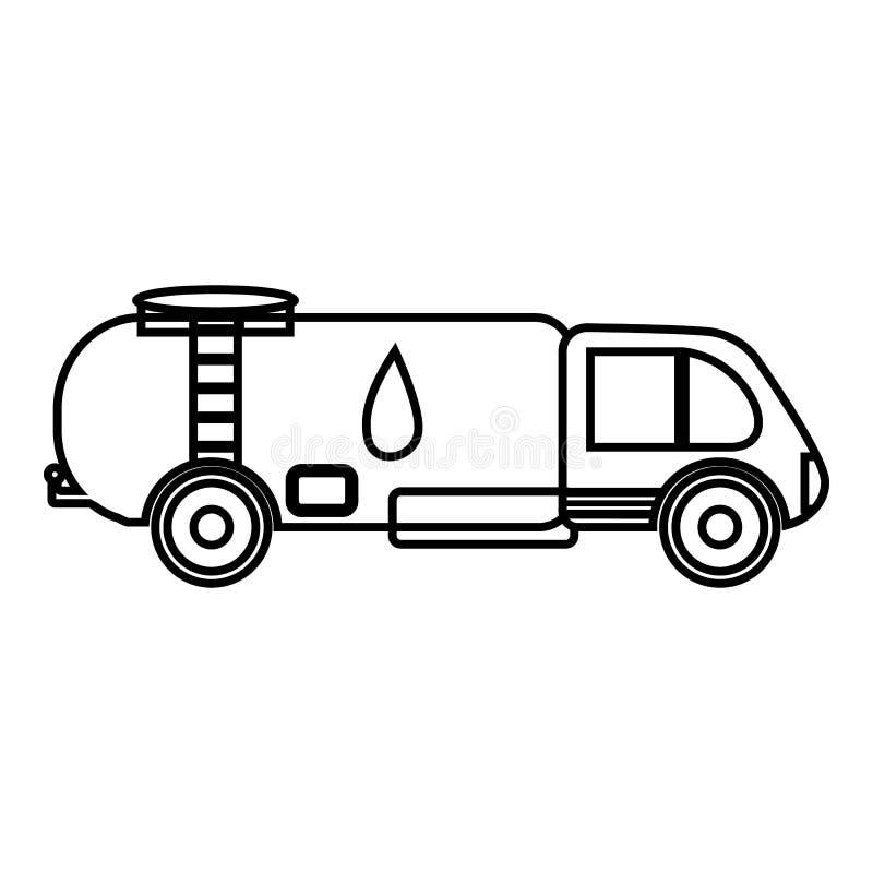 Ciężarówka niesie benzyny ikonę, konturu styl ilustracja wektor