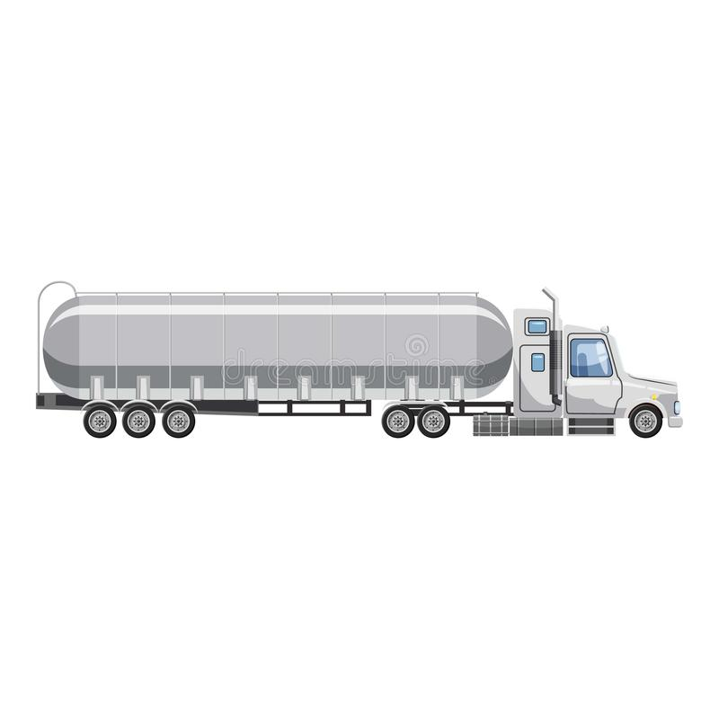 Ciężarówka niesie benzyny ikonę, kreskówka styl ilustracja wektor