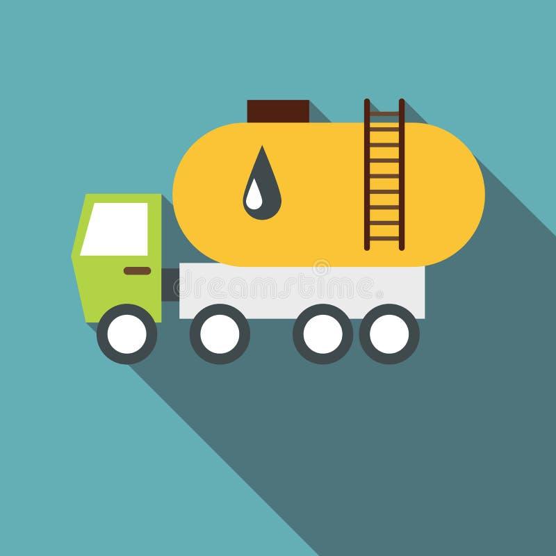 Ciężarówka niesie benzyny ikonę, mieszkanie styl ilustracja wektor