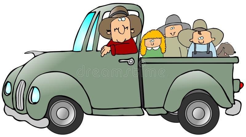 ciężarówka pełna dzieciaku ilustracja wektor
