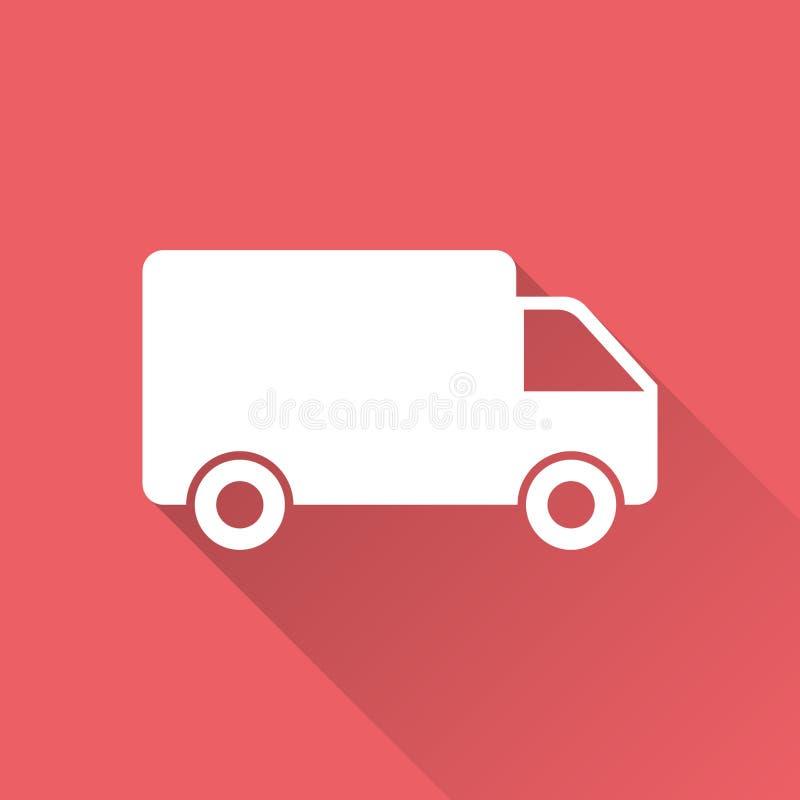 Ciężarówka, samochodowa wektorowa ilustracja Szybka doręczeniowej usługa wysyłki ikona royalty ilustracja