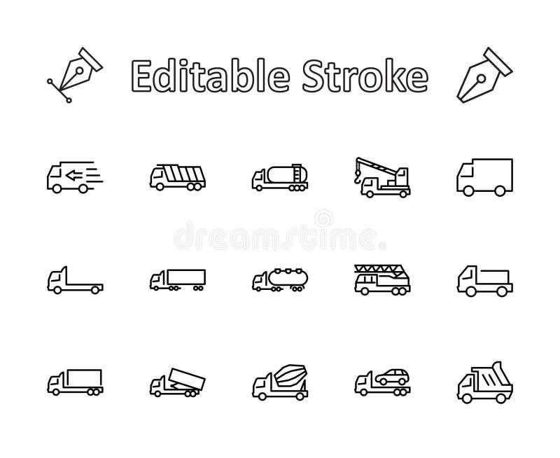 Ciężarówka set Przewiezione wektor linii ikony Zawiera taki ikony jak ciężarówkę, transport, Holownicza ciężarówka, żurawie, mela royalty ilustracja