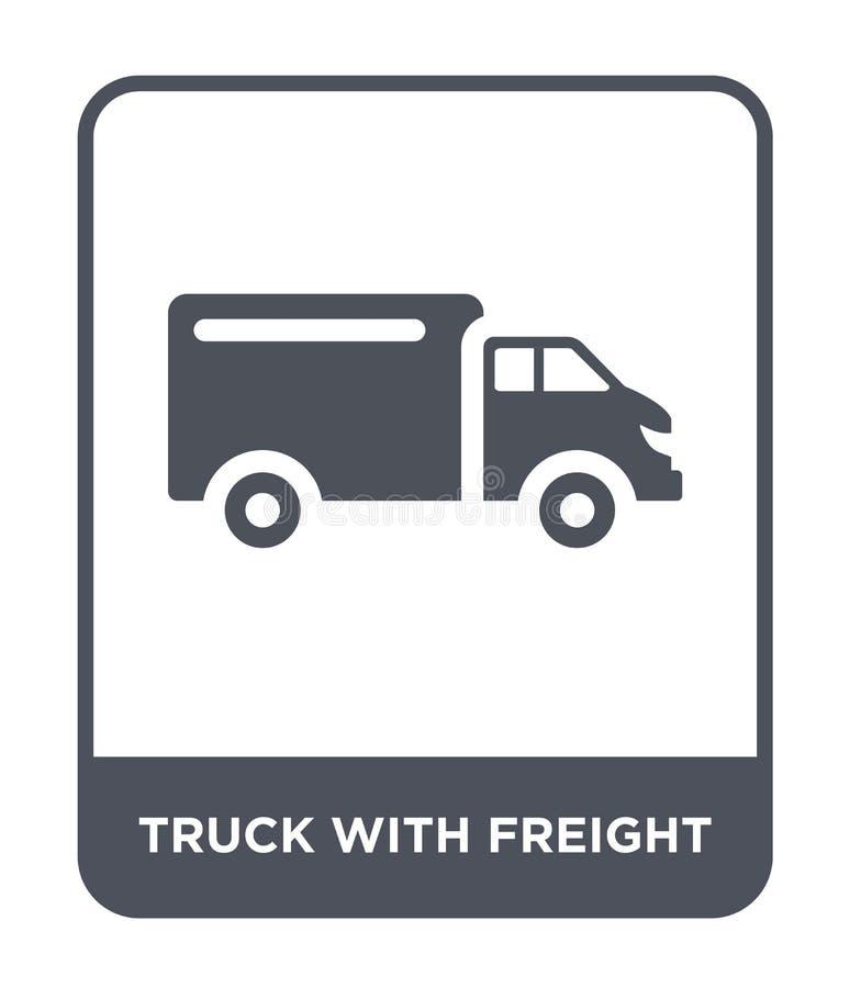 ciężarówka z frachtową ikoną w modnym projekta stylu przewozi samochodem z frachtową ikoną odizolowywającą na białym tle ciężarów ilustracji