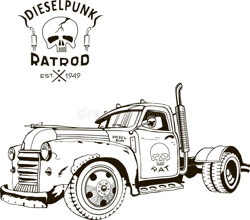 Ciężarówka z gorącym prętem Diesel punk, izolowana, sztuka wektorowa, kultura kustom, wojna po apokalipsie zombie ilustracja wektor