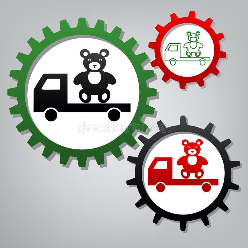Ciężarówka z niedźwiedziem wektor Trzy łączącej przekładni z ikonami przy grze royalty ilustracja