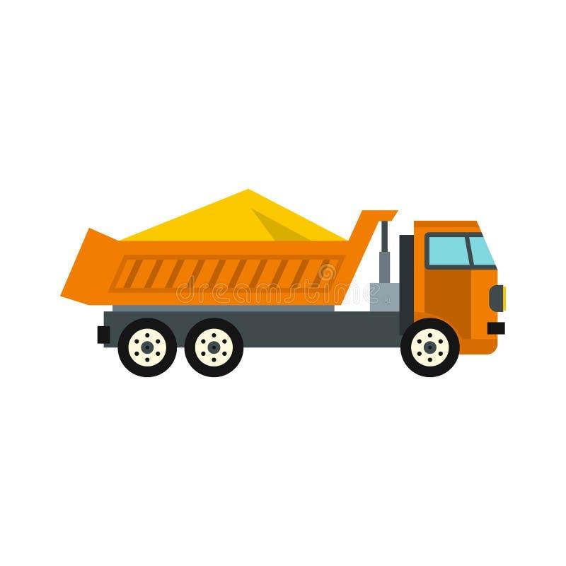 Ciężarówka z piasek ikoną, mieszkanie styl ilustracja wektor