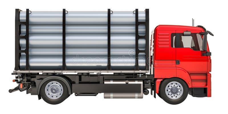 Ciężarówka z stalowymi drymbami, 3D rendering ilustracja wektor
