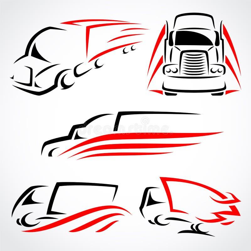 Ciężarówki ustawiać. Wektor royalty ilustracja