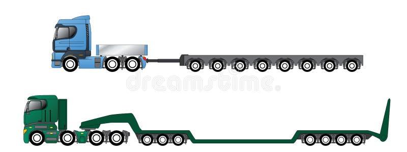 Ciężarówki z ogromnymi i z nadwagą przyczepami ilustracji