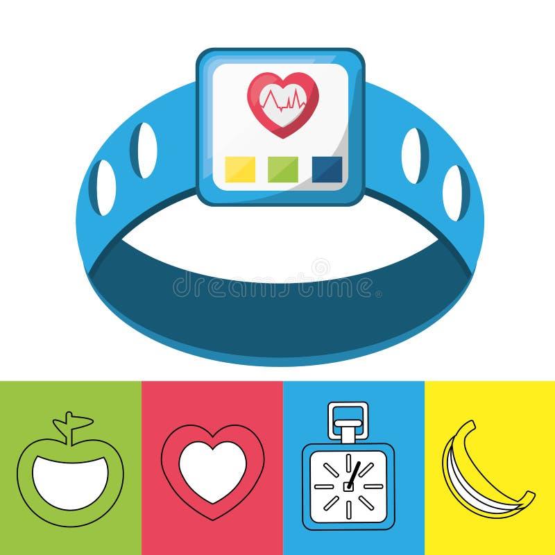 Ciężar i smartwatch metrowy rytm sercowy royalty ilustracja