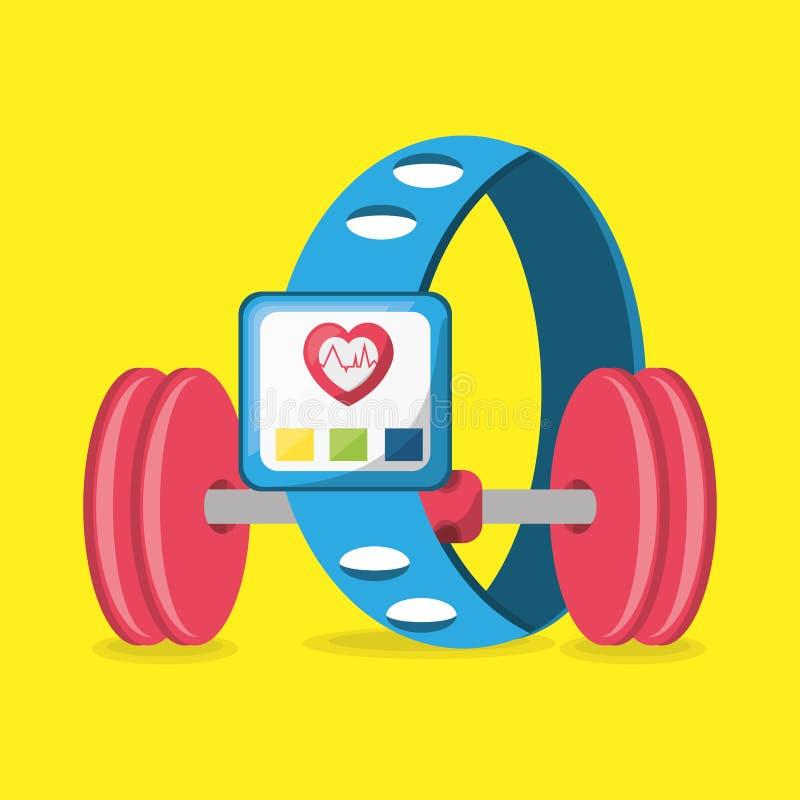 Ciężar i smartwatch metrowy rytm sercowy ilustracja wektor