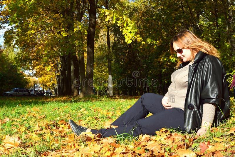 Ciężarna dziewczyna w jesień lesie zdjęcia royalty free